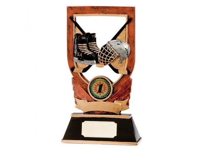 Trofej plaketa  CRF0088 hokej, brusle a helma Výška 14,5cm