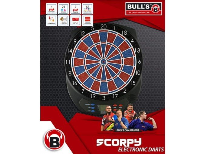 Elektronický terč Bull's Scorpy II NEW + dárek 100hrotů 1 ks