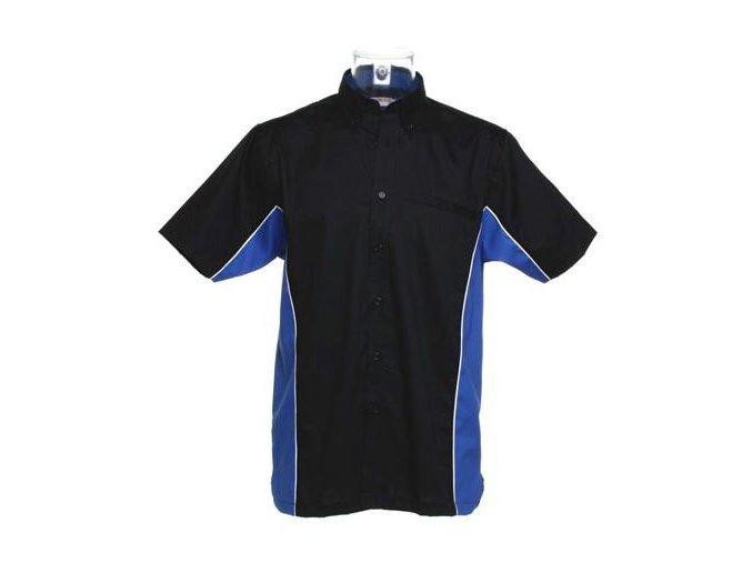 Košile CKK8185 black & blue (royal)