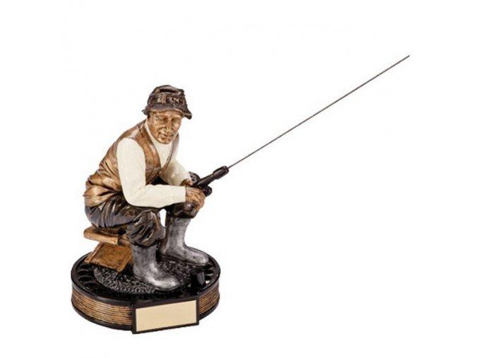 Trofej CRF1376 rybář  Výška 16cm