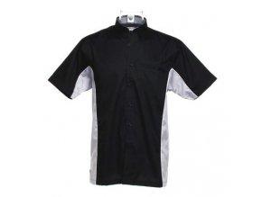 Košile CKK8185 black & silver grey