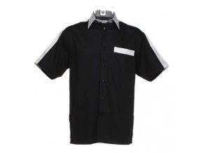 Košile CKK8175 black & silver grey