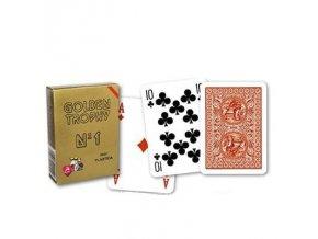Poker plastové karty GOLDEN TROPHY 100% plastic červené