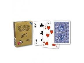 Poker plastové karty GOLDEN TROPHY 100% plastic modré