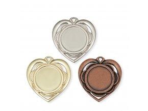 Medaile C19029  srdce zlatá, stříbrná, bronzová