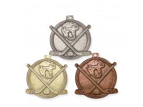 Medaile 9349 zlatá, stříbrná, bronzová Hokej