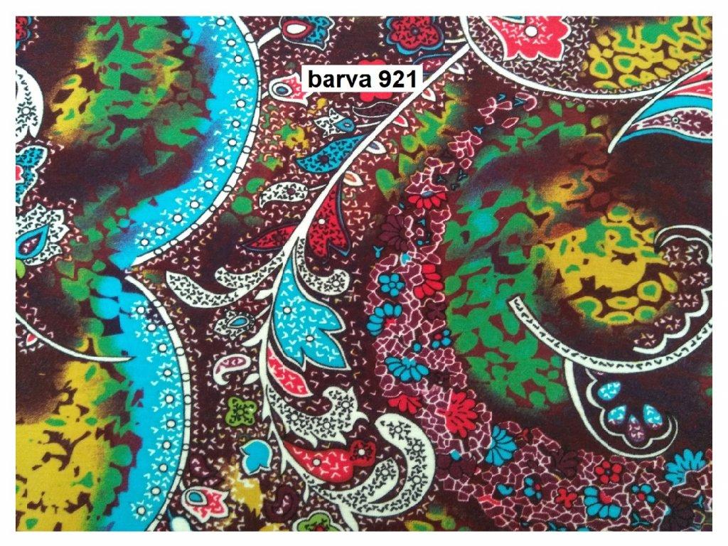 Viskóza / spandex Paisley květy
