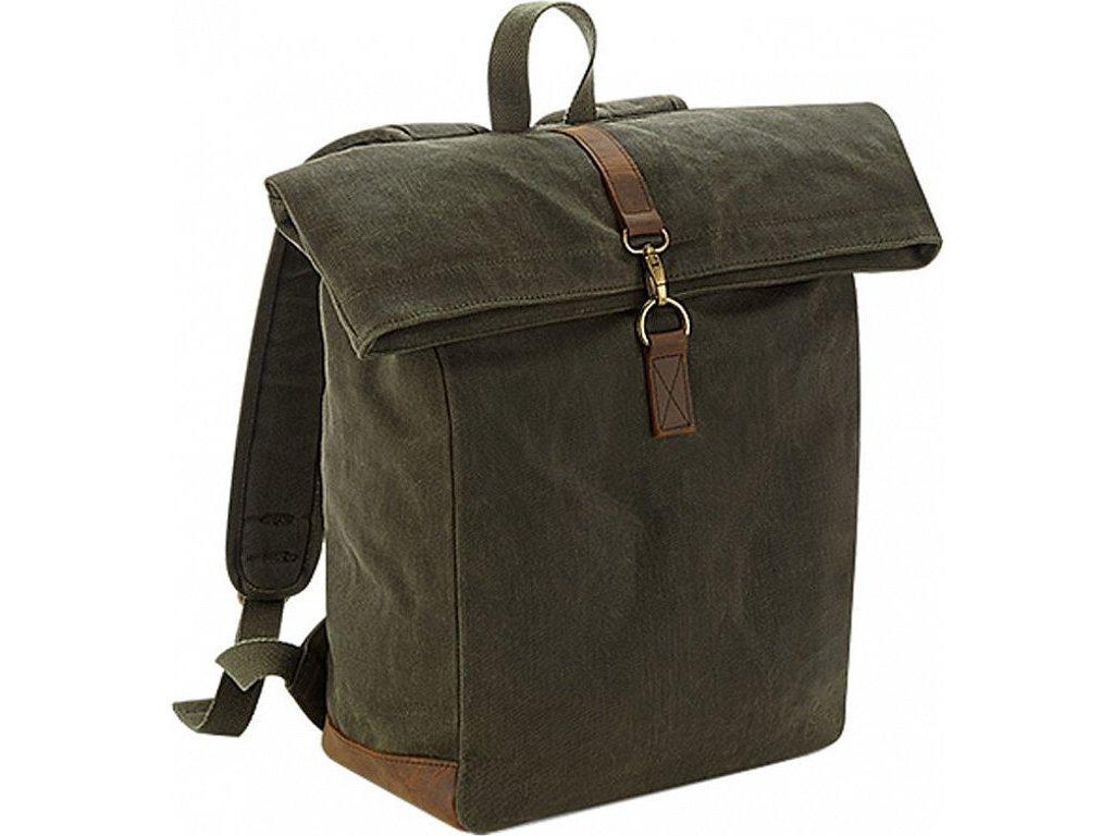 """Nepromokavý plátěný rolovací retro batoh s kovovou přezkou na notebook do 15,6"""""""