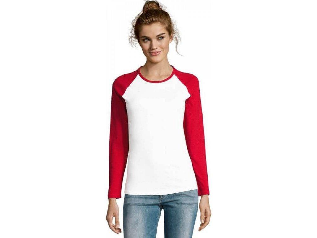 Dámské baseballové tričko s dlouhým kontrastním rukávem