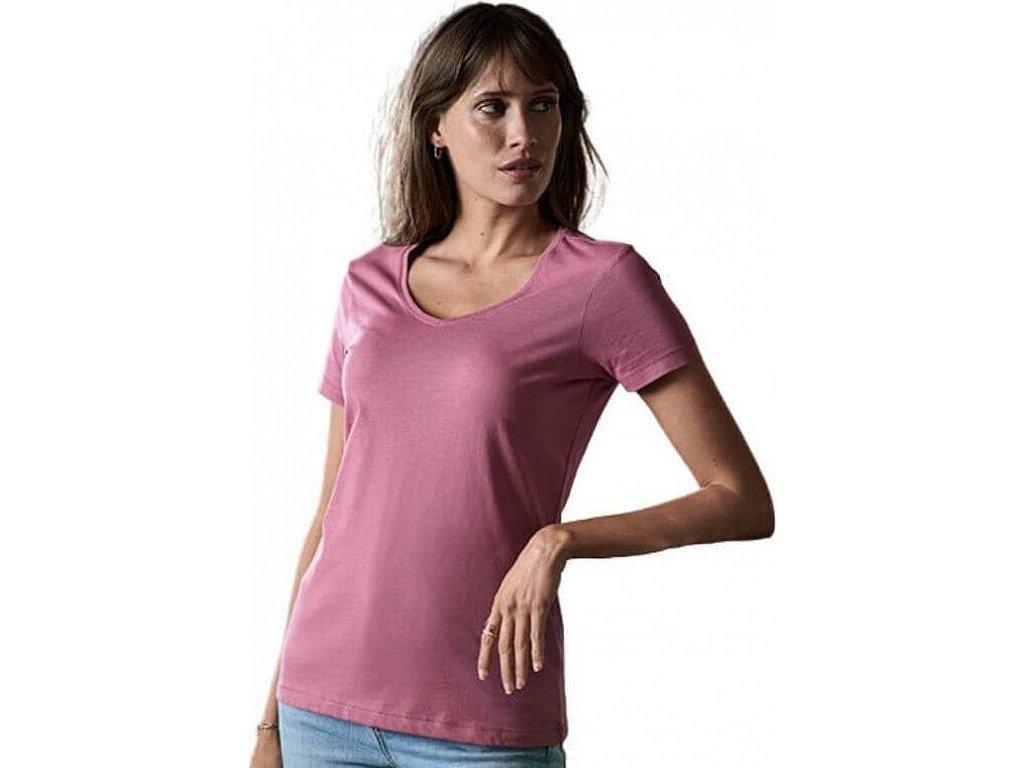 Luxusní dámské tričko do véčka z organické česané bavlny
