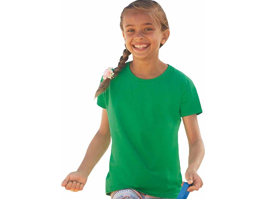 Dívčí základní bavlněné tričko Valueweight Fruit of the Loom