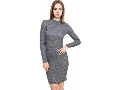 Přiléhavé viskózové šaty Urban Classics s dlouhým rukávem 235 g/m