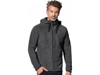Fleecová bunda s kapucí a kontrastními detaily