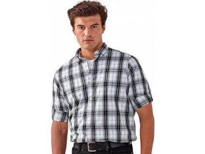 Kostkovaná pánská košile Ginmill s dlouhým rukávem 100 % bavlna