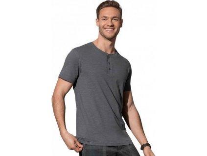 Lehké pánské bavlněné triko Shawn Henley s knoflíčky 140 g/m