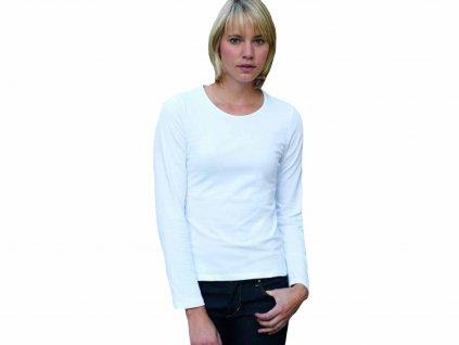 Dámské tričko s dlouhým rukávem, s příměsí elastanu Fruit of the Loom