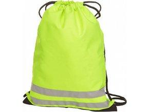 Neonově žlutý gymnastický sáček s reflexními proužky 33 x 43 cm