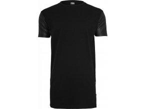 Prodloužené pánské triko Urban Classics s koženkovými rukávy