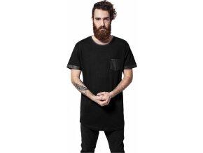 Prodloužené bavlněné triko Urban Classics s koženkovými prvky