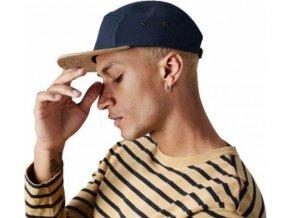 Bavlněná čepice s kšiltem s imitací semiše s plochým kšiltem