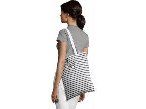 Proužkovaná bavlněná nákupní taška Luna s dlouhými uchy, 37 x 42 cm