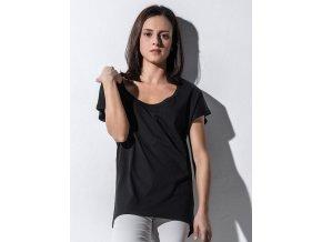 Lehké dámské oversize tričko Lindsay volný střih s hlubokým výstřihem
