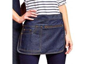 Pevná plátěnná zástěra s kapsou na zip a na tablet