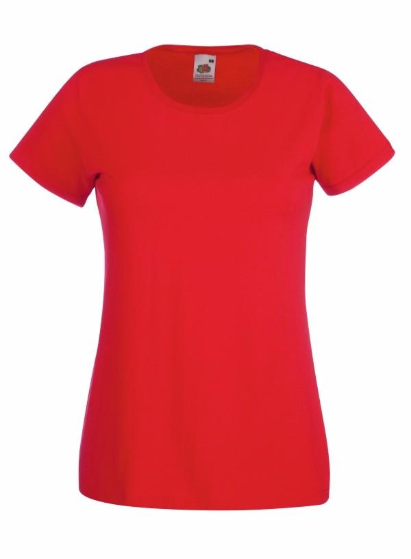 Klasické bavlněné tričko s kulatým výstřihem Barva: Červená, Velikost: M