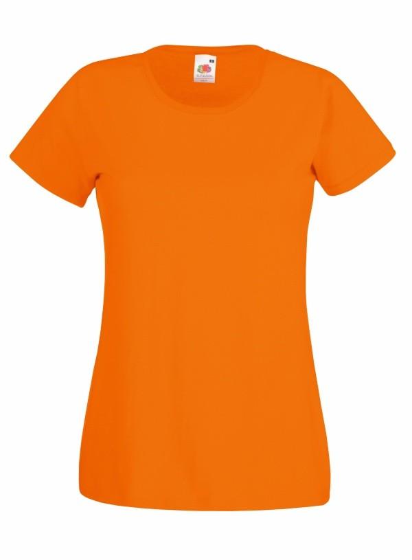 Klasické bavlněné tričko s kulatým výstřihem Barva: Oranžová, Velikost: L