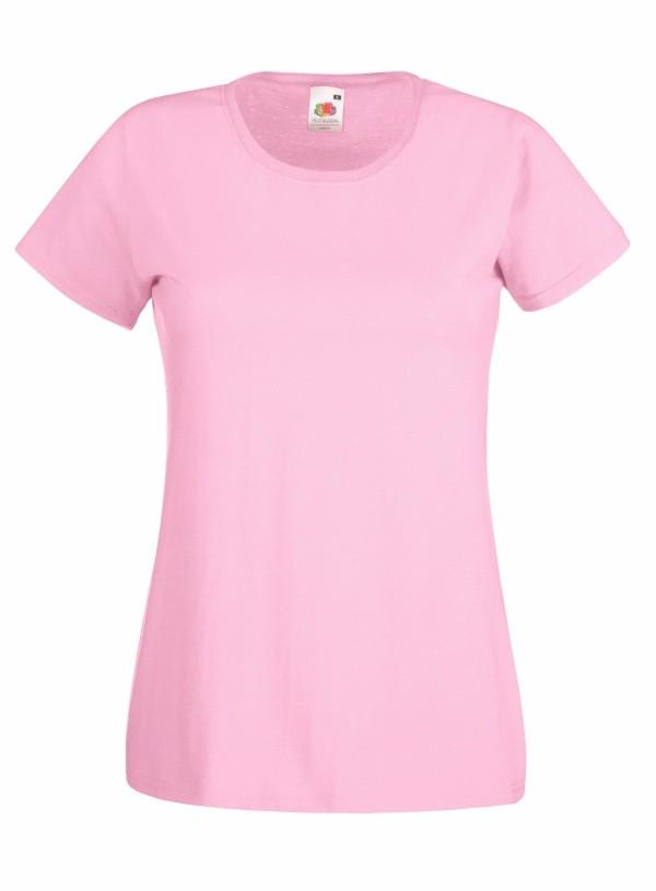Klasické bavlněné tričko s kulatým výstřihem Barva: Světle růžová, Velikost: XS