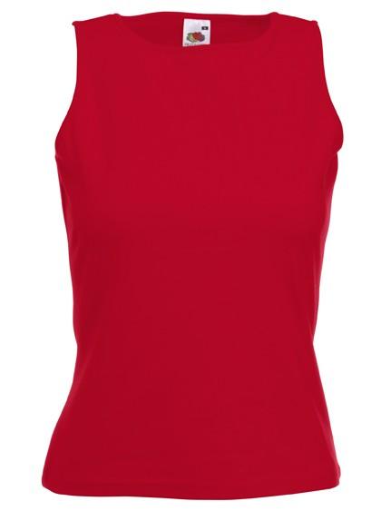 Dámské tričko bez rukávů 95% bavlna, 5% elastan Barva: Červená, Velikost: S
