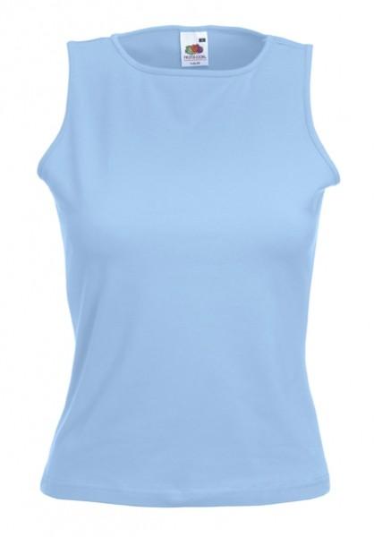 Dámské tričko bez rukávů 95% bavlna, 5% elastan Barva: Nebeská modř, Velikost: XS
