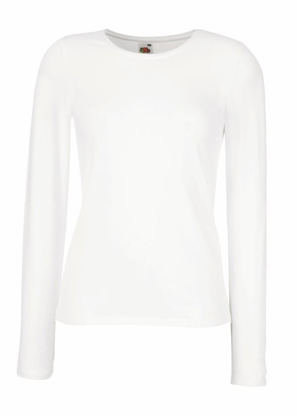 Dámské tričko s dlouhým rukávem 95% bavlna 5% elastan Barva: Bílá, Velikost: XS