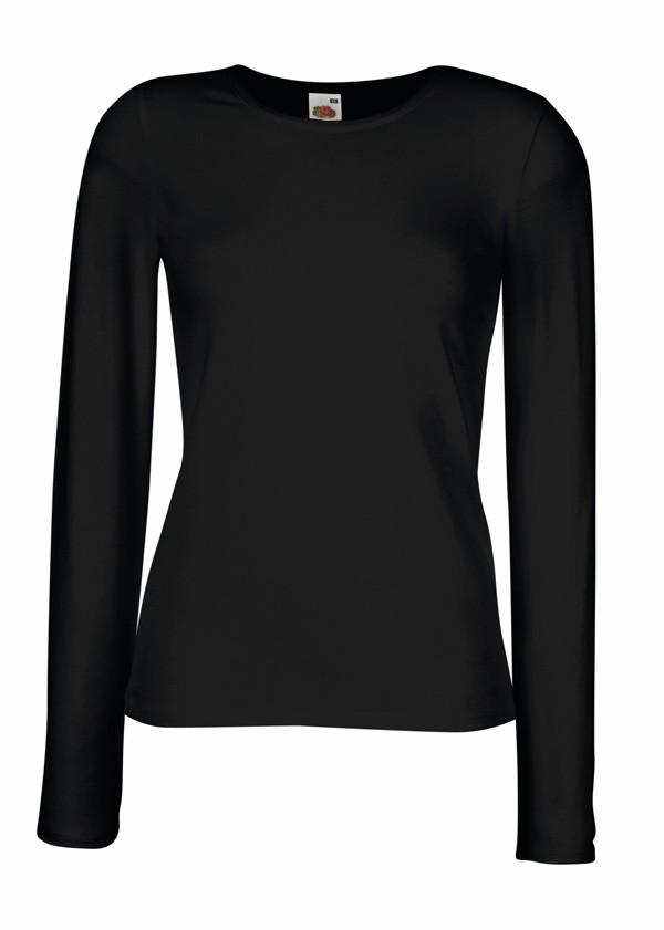 Dámské tričko s dlouhým rukávem 95% bavlna 5% elastan Barva: Černá, Velikost: S