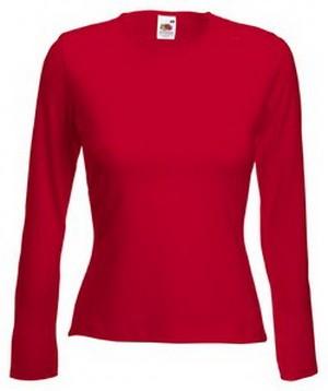 Dámské tričko s dlouhým rukávem 95% bavlna 5% elastan Barva: Červená, Velikost: S