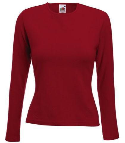 Dámské tričko s dlouhým rukávem 95% bavlna 5% elastan Barva: Cihlově červená, Velikost: S