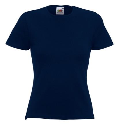 Dámské tričko s kulatým výstřihem, s elastanem, Fruit of the Loom Barva: Tmavě modrá, Velikost: XL