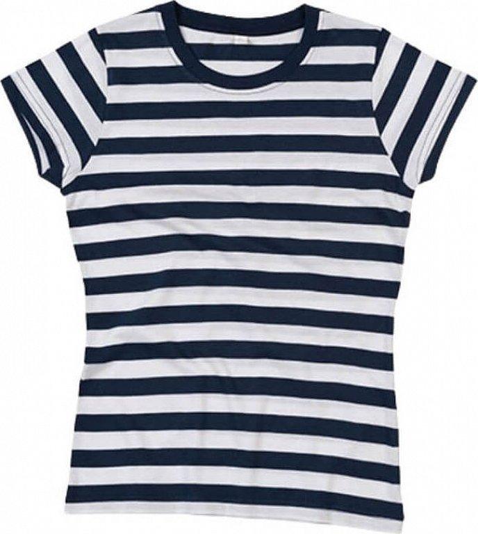 Dámské pruhované triko s krátkým rukávem Mantis Barva: černá - bílá, Velikost: S
