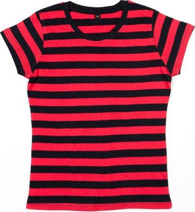 Dámské pruhované triko s krátkým rukávem Mantis Barva: černá - červená, Velikost: S