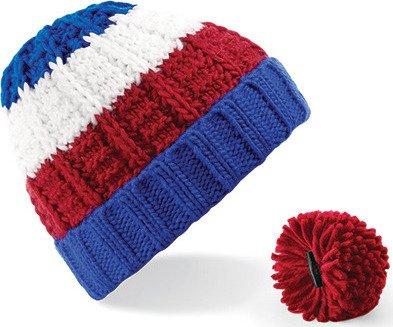 Dámská pruhovaná čepice s odnímatelnou bambulí Beechfield Barva: růžová - šedá - bílá
