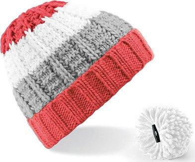 Dámská pruhovaná čepice s odnímatelnou bambulí Beechfield Barva: modrá - červená - bílá