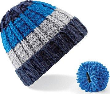 Dámská pruhovaná čepice s odnímatelnou bambulí Beechfield Barva: modrá - zelená - bílá