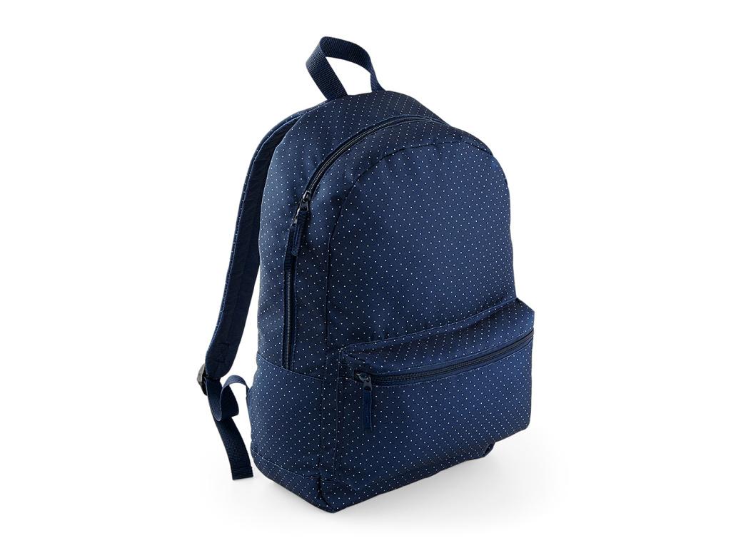 Tmavě modrý batoh s bílými puntíky 22 l   ČISTÝ TRIKO