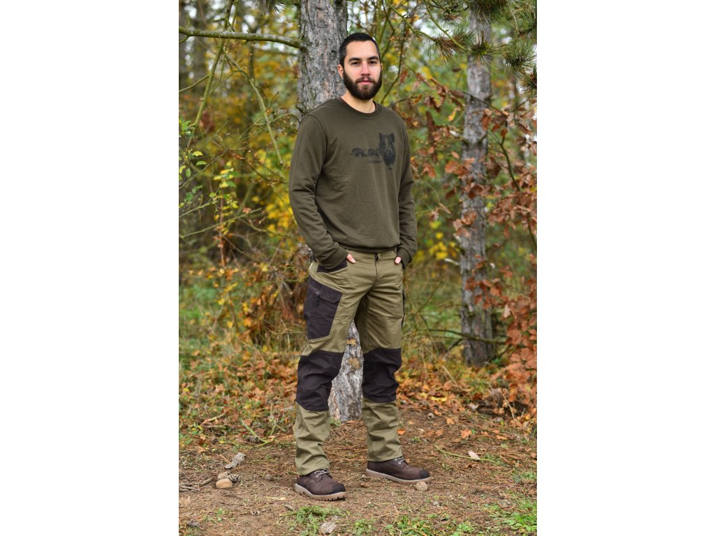 Myslivecké kalhoty - kombi hnědá/zelená