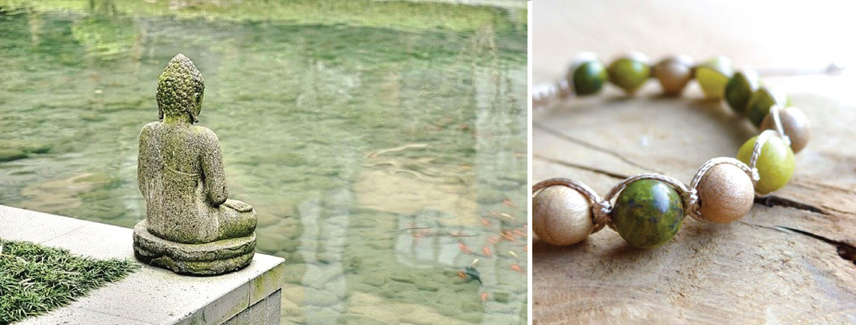 Meditační náramky, dřevěné korálky, serpentin a nefrit