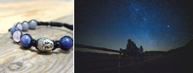Vesmírná energie, buddha, lapis lazuli a růženín