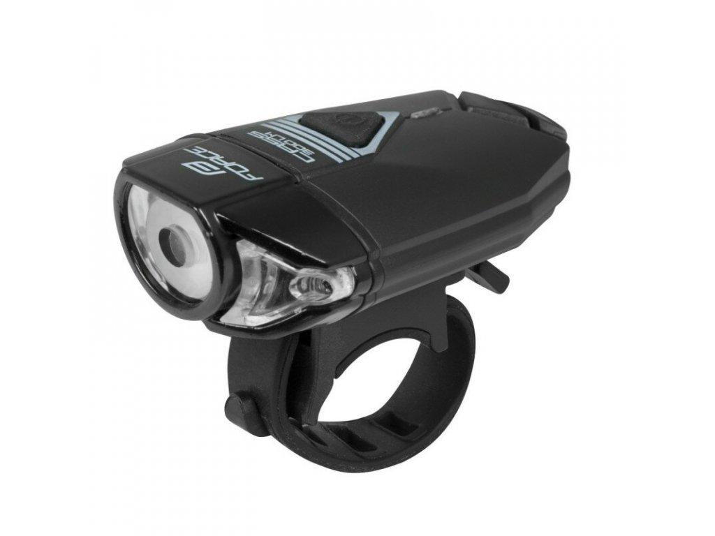 Přední světlo FORCE CASS 300LM, USB, černé
