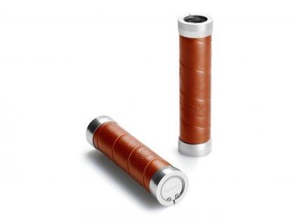 Kožené gripy Brooks Slender Leather Grips (Varianty Hnědá, Délka 130+100 mm)