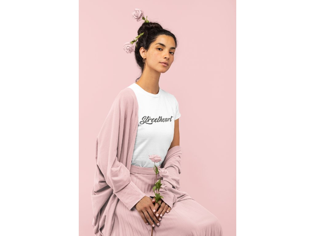 monochromatic t shirt of a woman holding some roses 32784