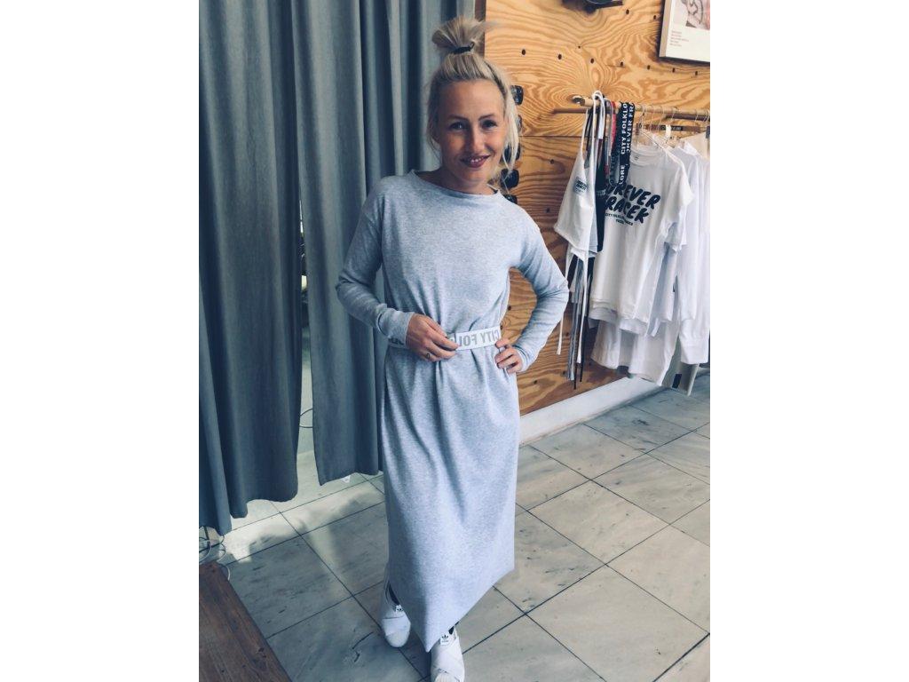 Šaty Rib Long Soft Grey / Long Sleeve